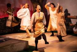 (L-R) Katrina Stevenson, Emily Belvo, Nicole Jeannine Smith, Jonelle Meyer and Caitlin Eason in Jobsite's Dancing at Lughnasa. (Photo courtesy Pritchard Photography.)