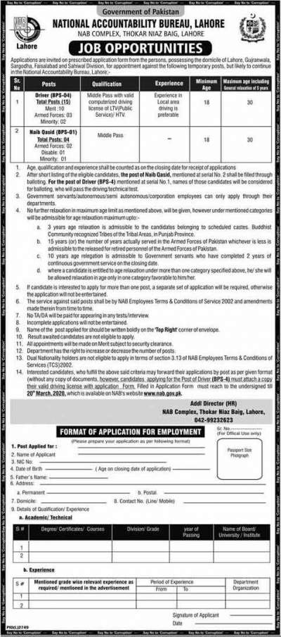 NAB Jobs 2020 Lahore Latest Application form Online