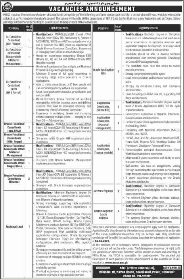 PESCO Jobs 2020 Peshawar Electric Supply Company KPK Advertisement