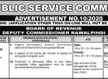 PPSC Board Of Revenue Junior Clerk Lahore Jobs 2020