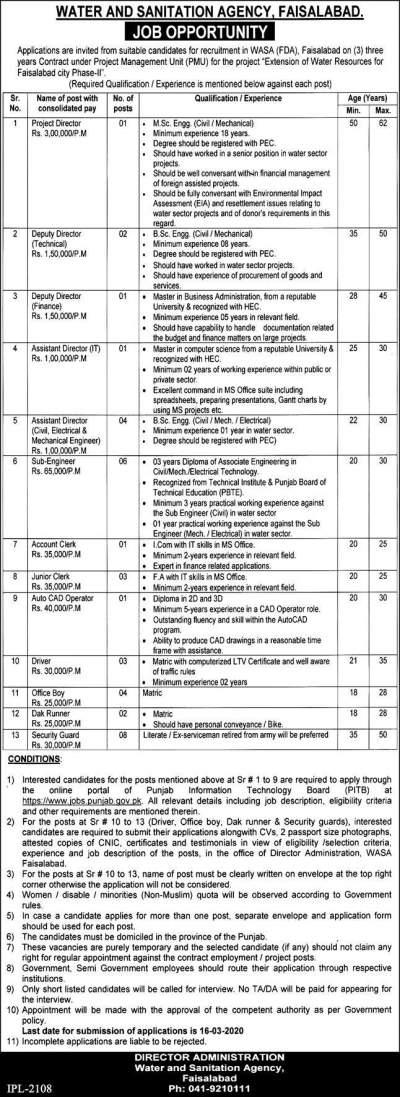 WASA Jobs 2020 FDA Faisalabad Application form