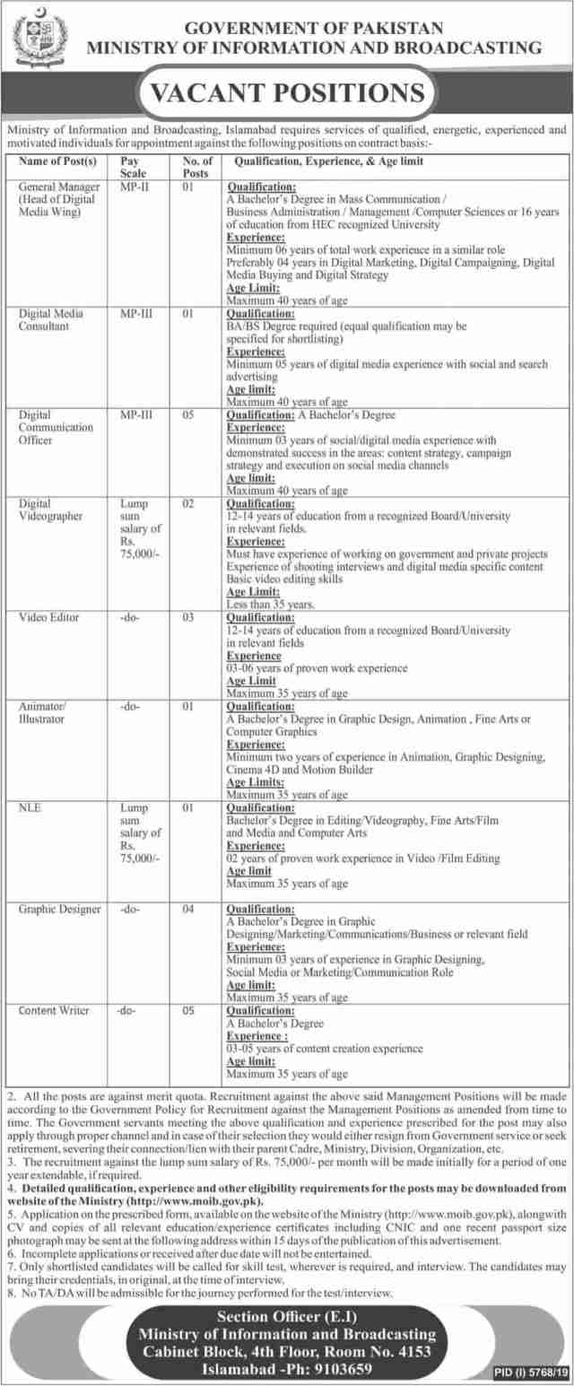 Ministry of Information & Broadcasting MOIB Jobs 2020 Pakistan