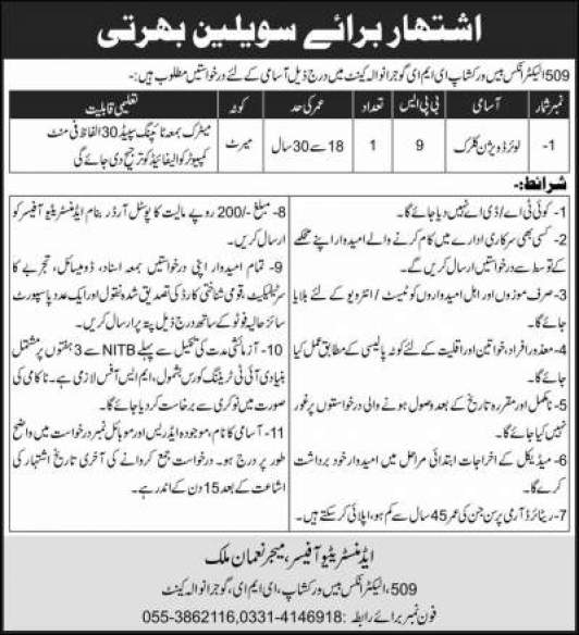 Pakistan Army Civilian Jobs May 2020 EME 509 Electronics Base Workshop