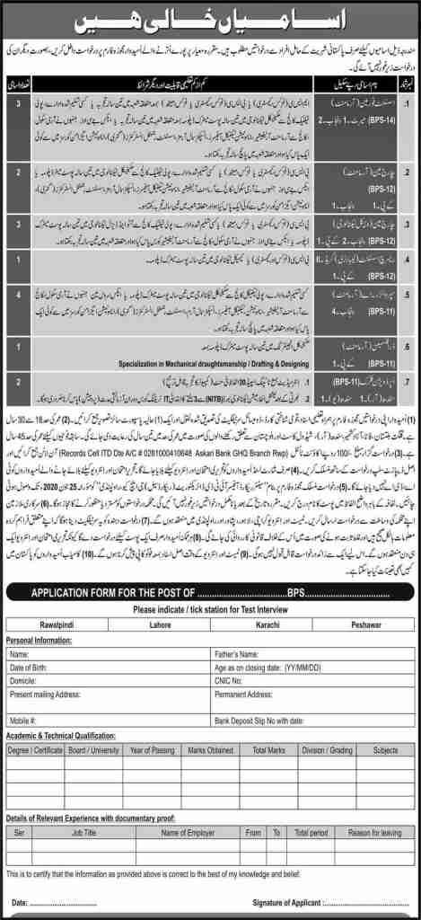 Pakistan Army GHQ Rawalpindi Jobs 2020 Latest Advertisement