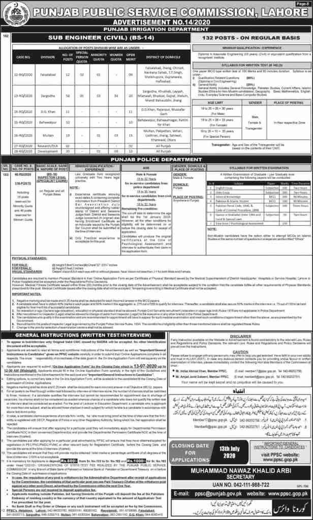 PPSC Punjab Police Jobs 2020 for Inspector Legal Latest Advertisement