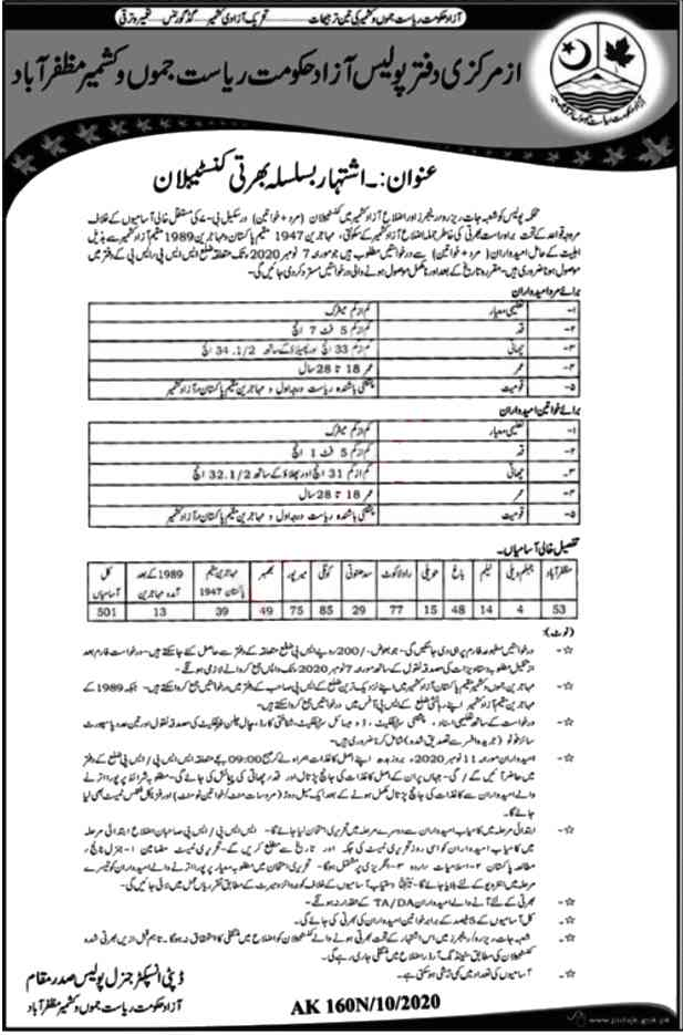 AJK Police Constable Jobs 2020 Latest Career opportunities