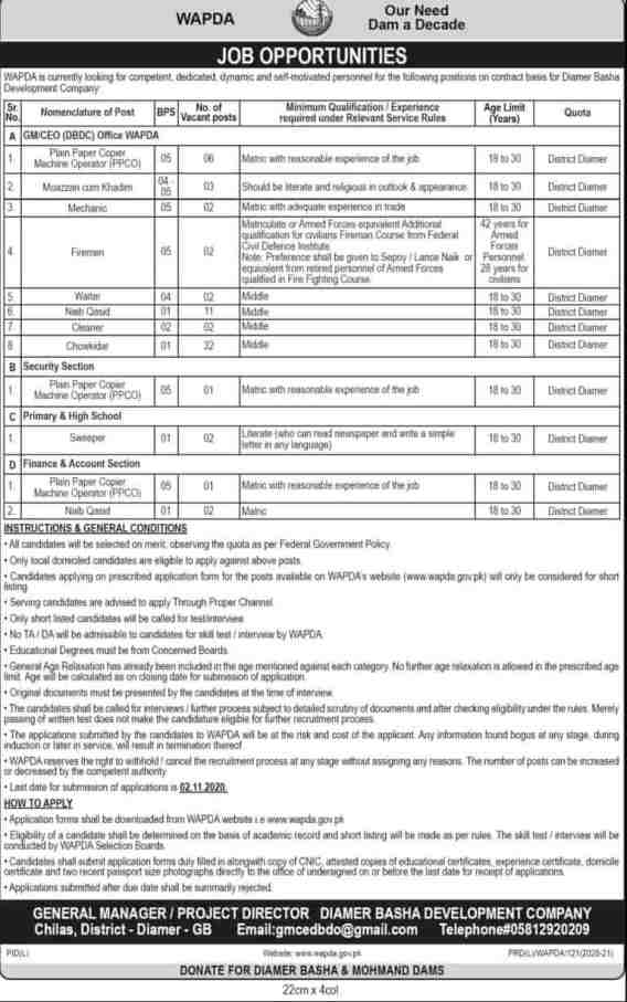 Wapda latest October 2020 Career Opportunities