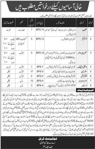 Pak Army FF Regimental Center Jobs Nov 2020 Abbotabad