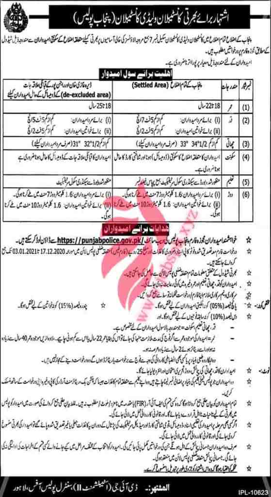 Police Job in Punjab 2020 Constable and Lady Constable Application Form