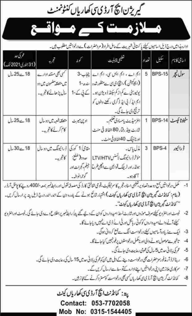Pak Army Garrison HRDC Kharian Cantt Jobs 2020 for Civilians