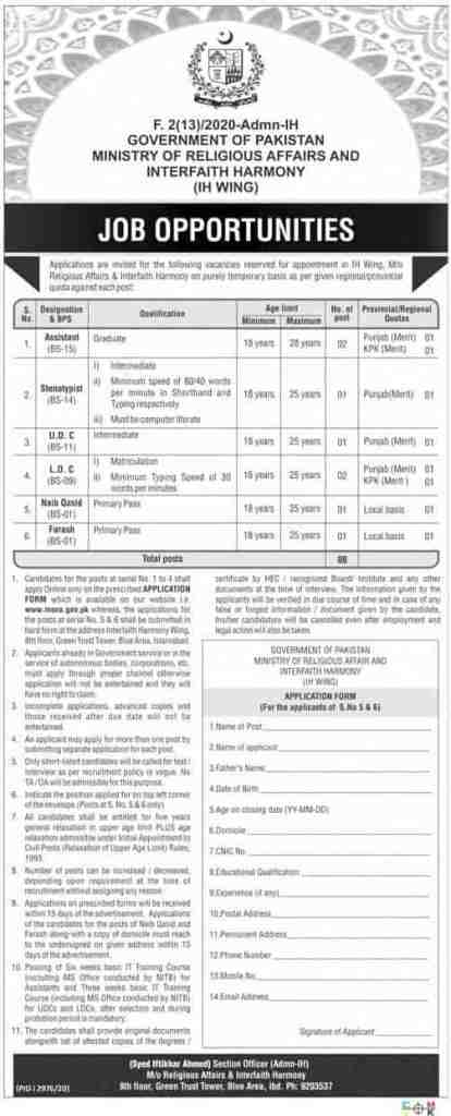 Ministry of Religious Affairs and Interfaith Harmony IH Wing Jobs 2020 Application Form