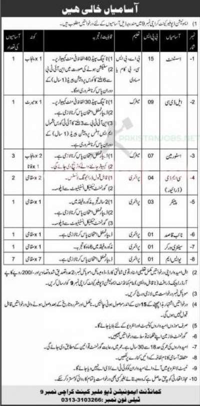 Pakistan Army Ammunition Depot Malir Cantt Karachi Jobs 2021