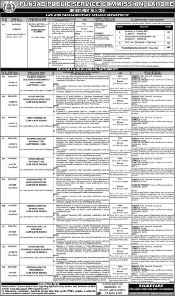 PPSC Jobs Today 2021 Advertisement in Punjab Land Record Authority
