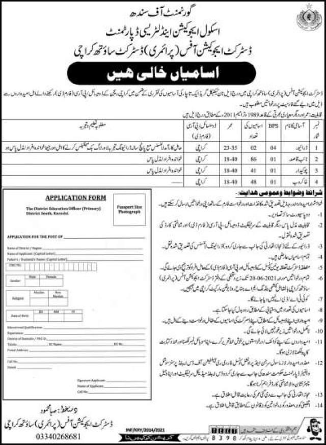 School Education & Literacy Department Govt Of Sindh Jobs 2021