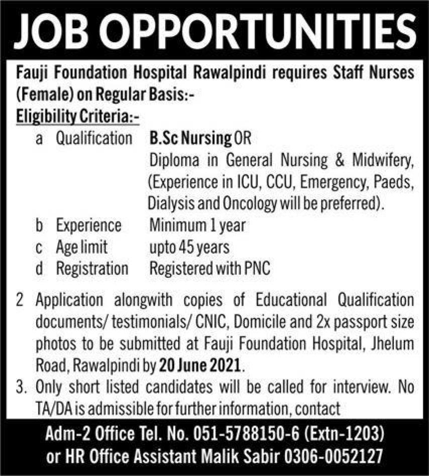Fauji Foundation Hospital Staff Nurses Jobs 2021 Rawalpindi