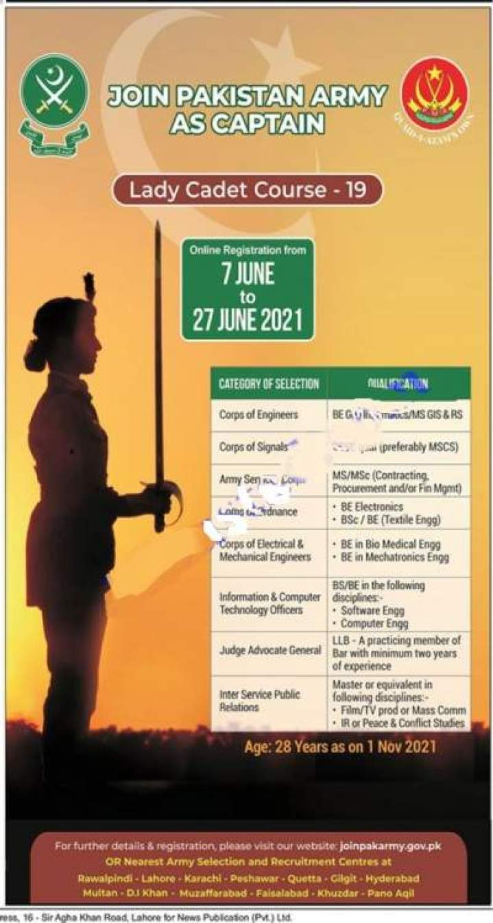 Pak Army Jobs for Females 2021 as captain in Lady cadet Course 19 after graduation