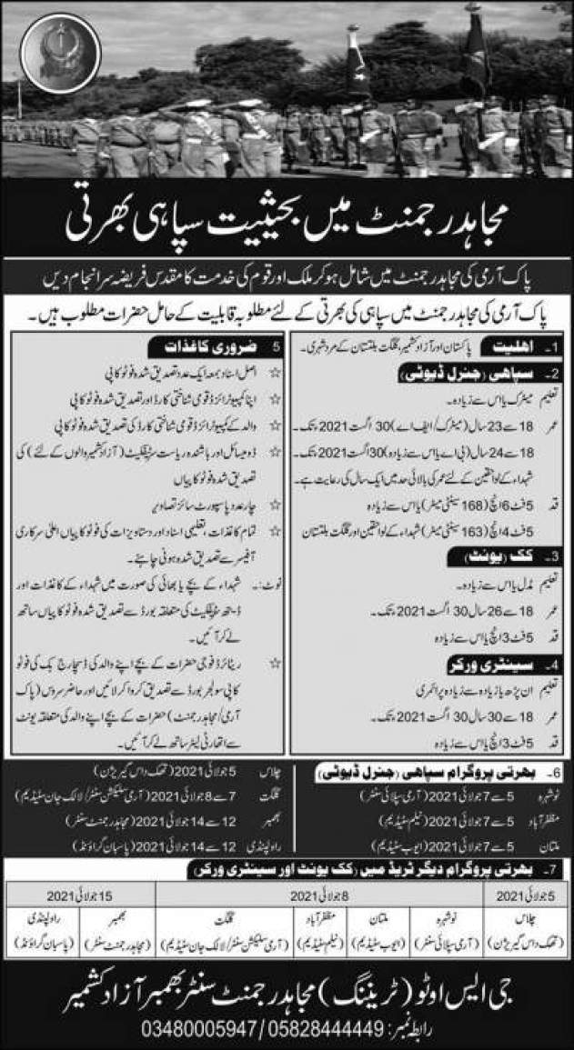 Pak Army Mujahid Force New Jobs 2021 for Soldier Advertisement