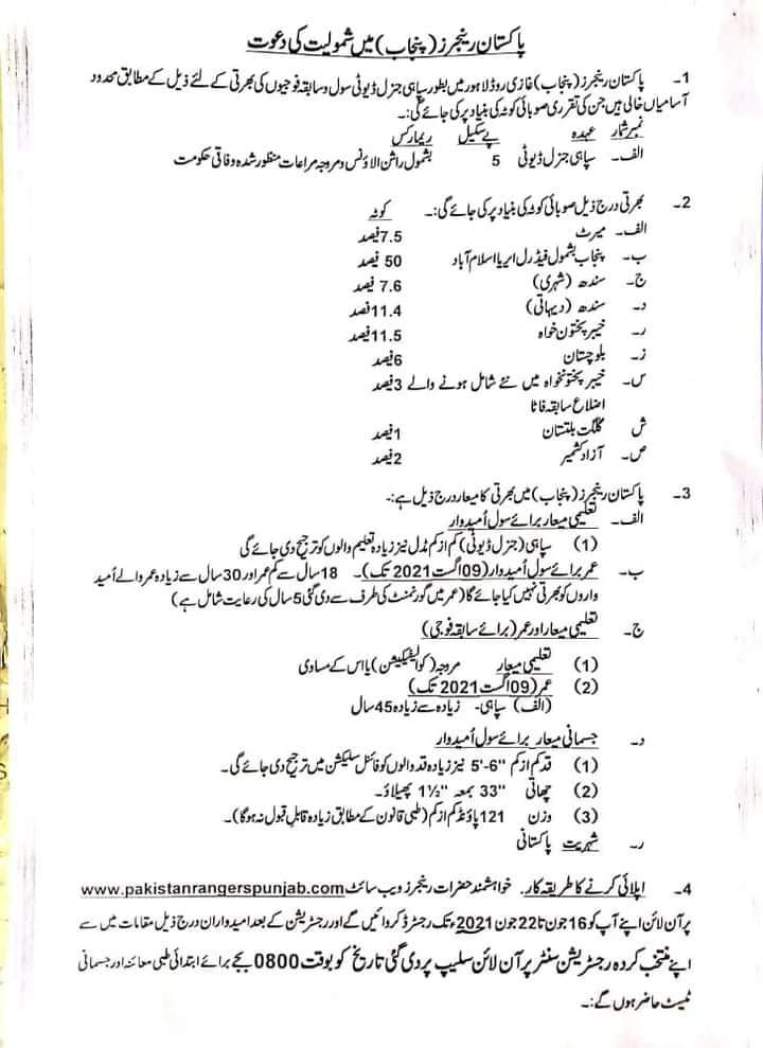 Punjab Ranger Jobs 2021 Pakistan Advertisement Latest