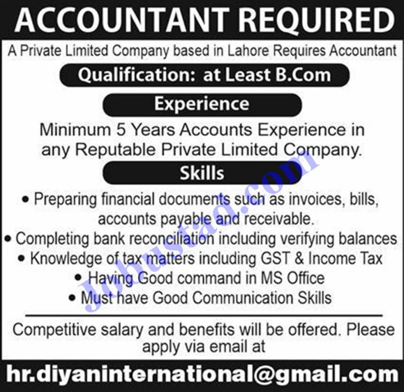 Accountant Jobs in Lahore 2021