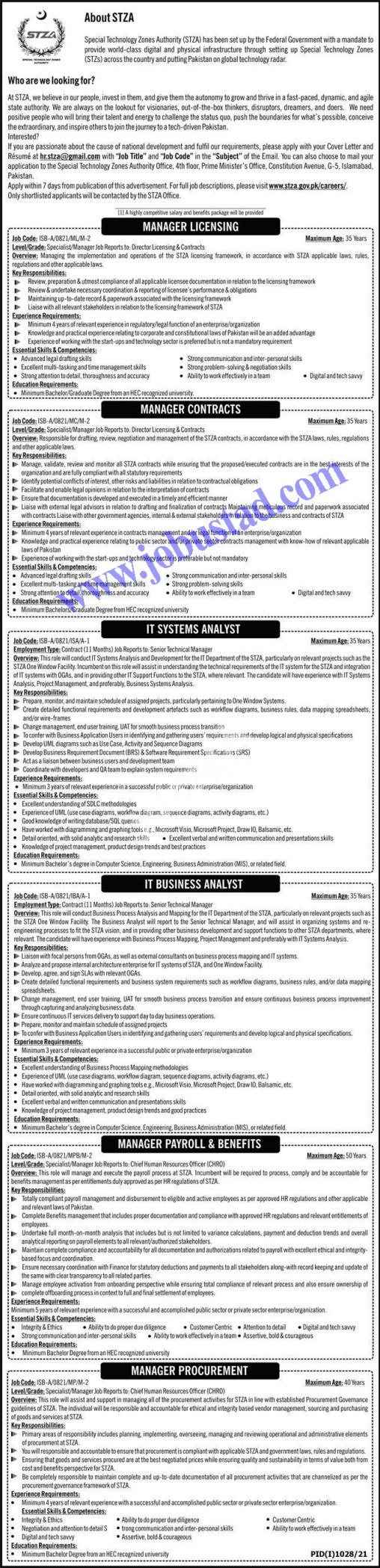 Government of Pakistan Special Technology Zones Authority STZA Jobs 2021