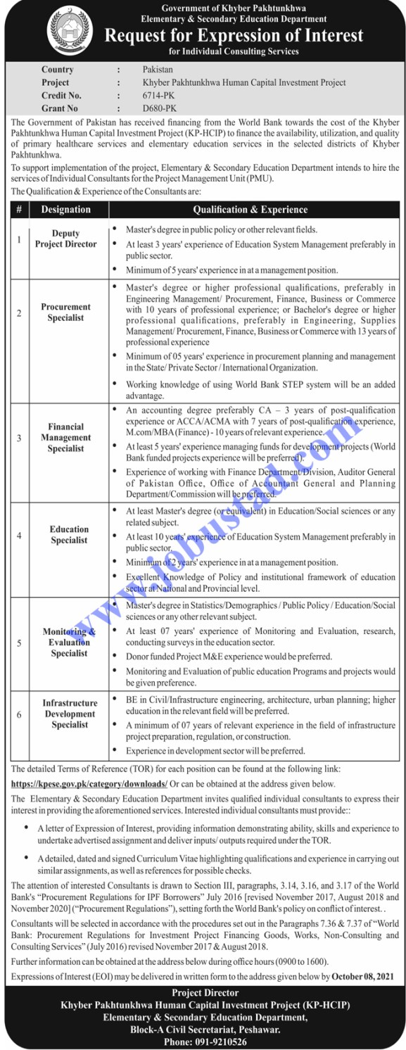 Elementary and Secondary Education Department KPK Jobs 2021