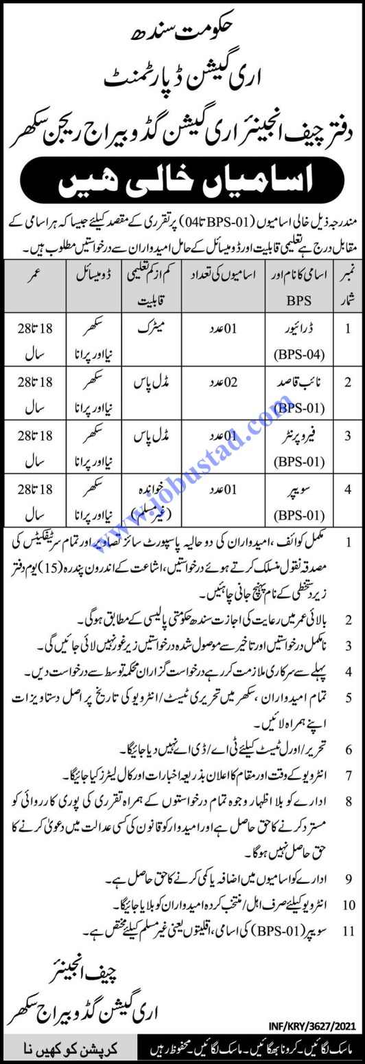 Irrigation Department Jobs in Sindh 2021 - Government of Sindh Jobs Today
