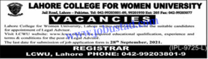 LCWU Jobs 2021 Advertisement in Lahore College for Women University