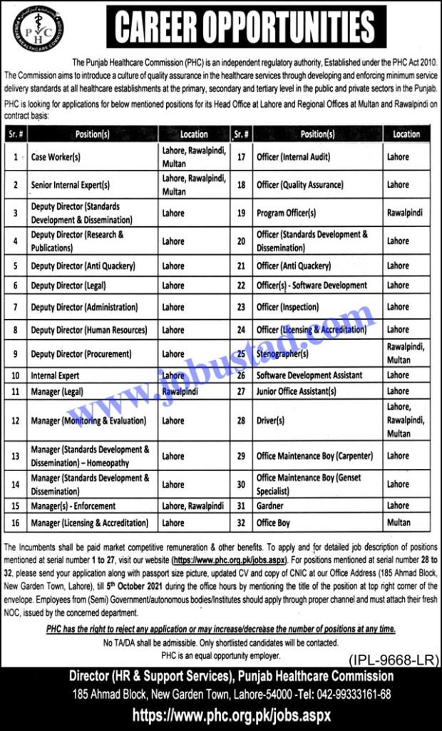 Government of Punjab Healthcare Commission Jobs 2021 - PHCC Jobs