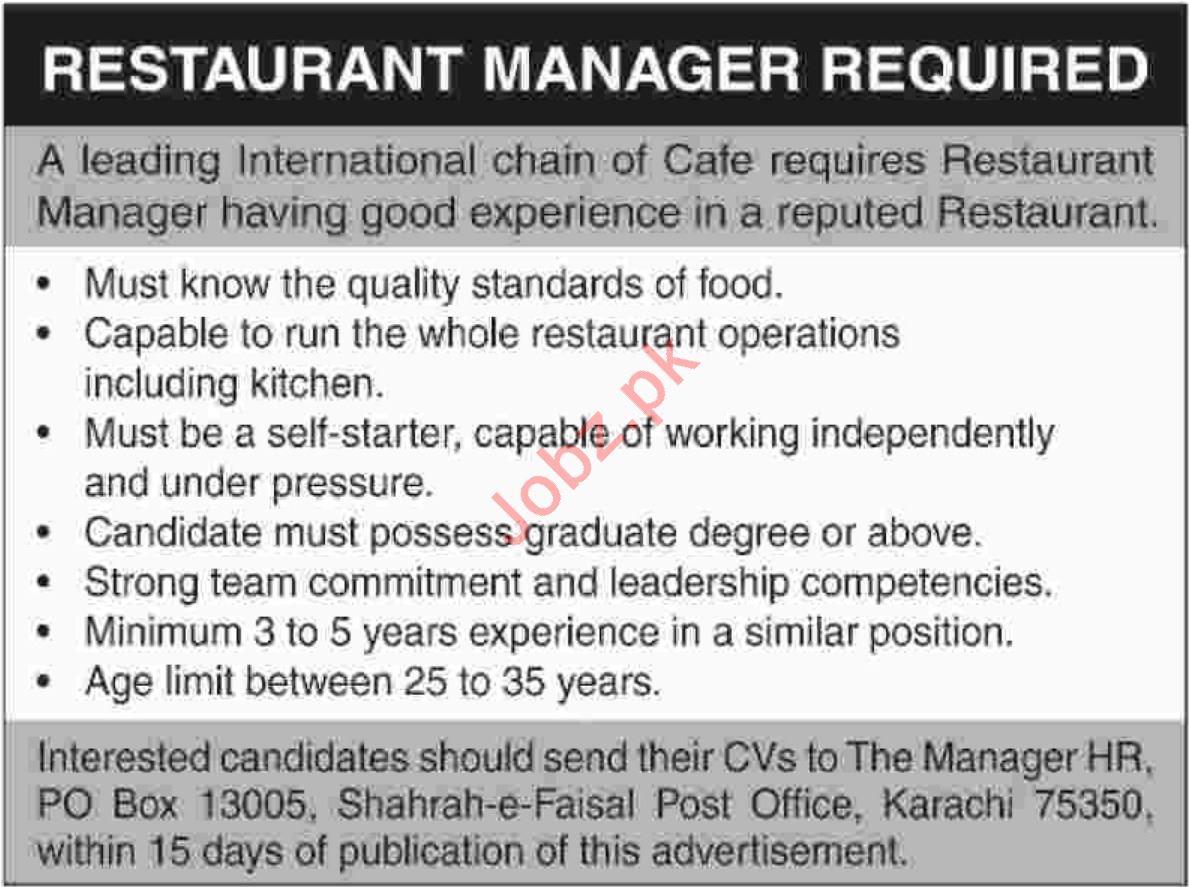 Restaurant Manager Jobs At Cafe Job Advertisement