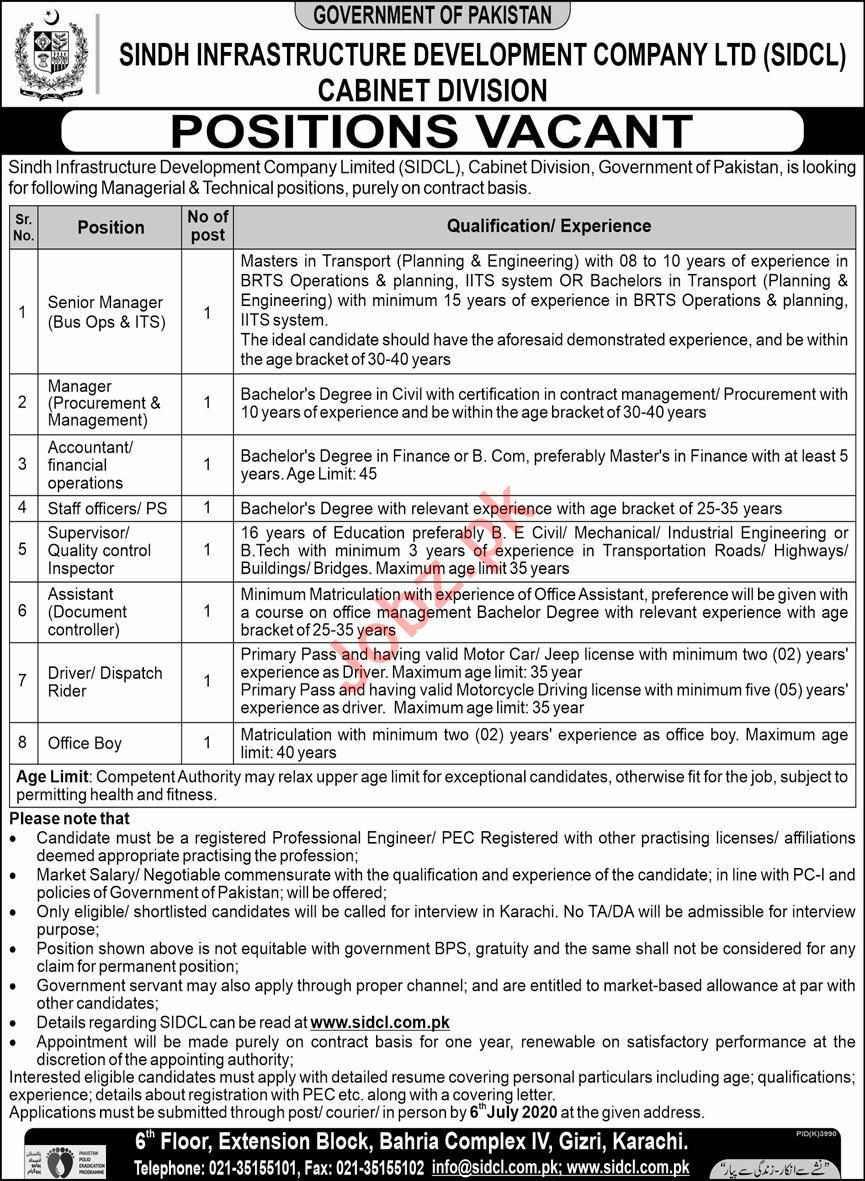 Latest SIDCL Management Posts Karachi