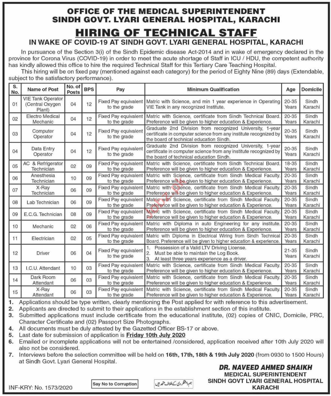 Sindh Govt Lyari General Hospital Medical Posts Karachi