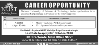 National University of Science & Technology NUST Job 2020