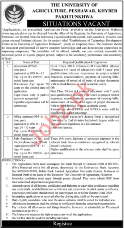 Agriculture University Peshawar AUP Jobs 2020 for Engineer