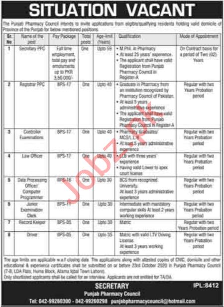 Punjab Pharmacy Council PPC Jobs 2020