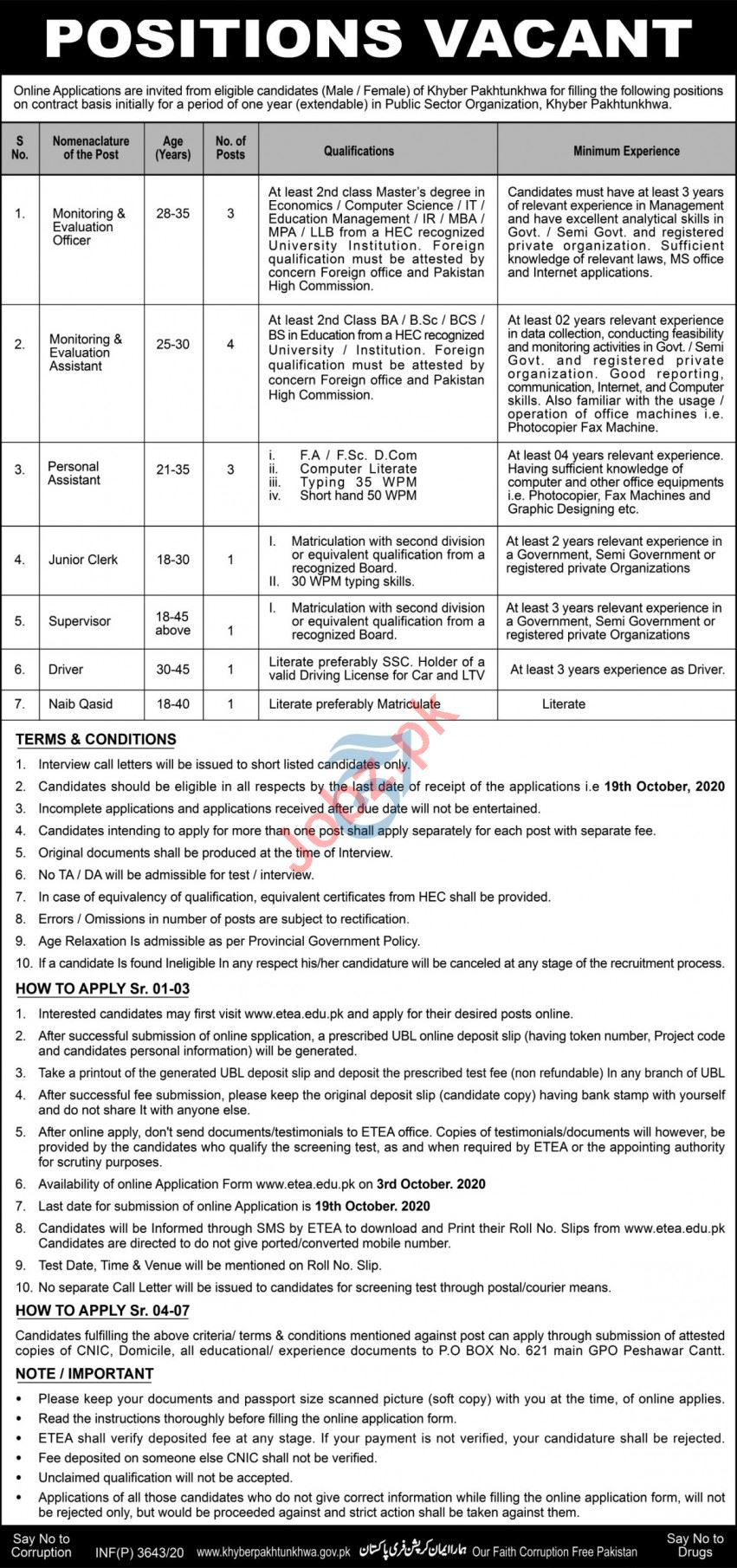 Personal Assistant & Junior Clerk Jobs 2020 in Peshawar