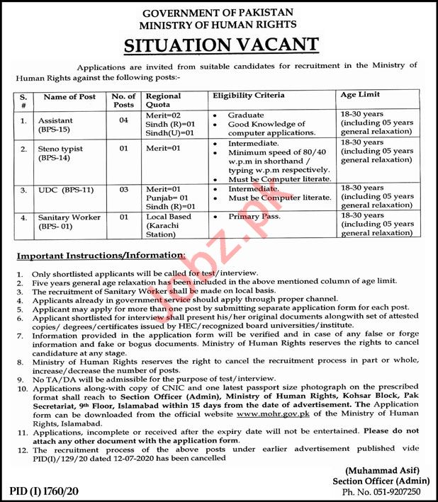 Ministry of Human Rights Islamabad Jobs 2020Ministry of Human Rights Islamabad Jobs 2020