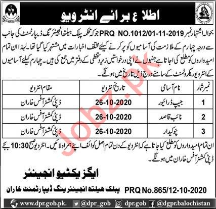 Public Health Engineering Division PHED Kharan Jobs 2020