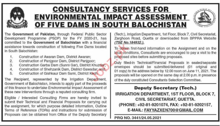 Irrigation Department Balochistan Jobs 2021 for Consultant