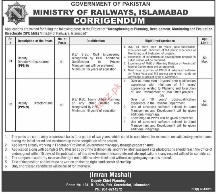 Latest Ministry of Railways Management Posts Islamabad 2021