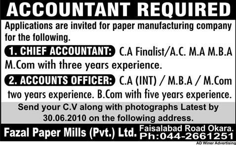 Job Opportunities For Accountant 2019 Job Advertisement