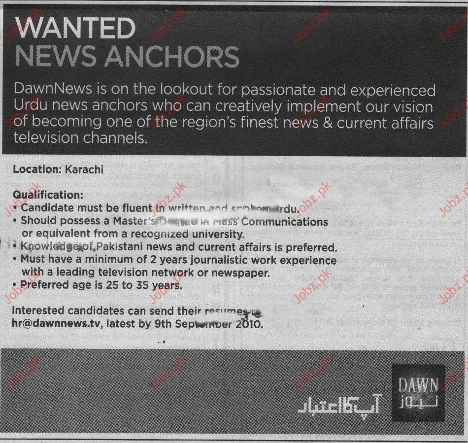 News Anchors Job Opportunities In Dawn News Karachi 2019