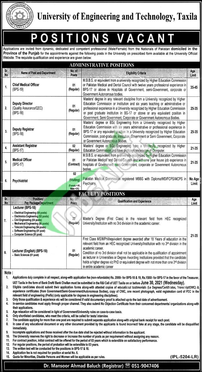 UET Taxila Latest Jobs 2021 For Faculty & Administrative Staff Career Offers
