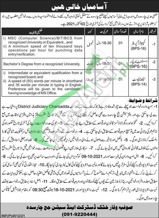 District and Session Court Charsadda Latest Jobs 2021 for Advertisement