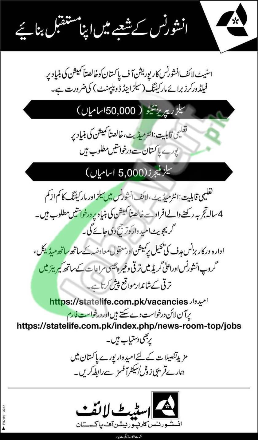 State Life Insurance Corporation of Pakistan Latest Jobs 2021 for Sales Representatives