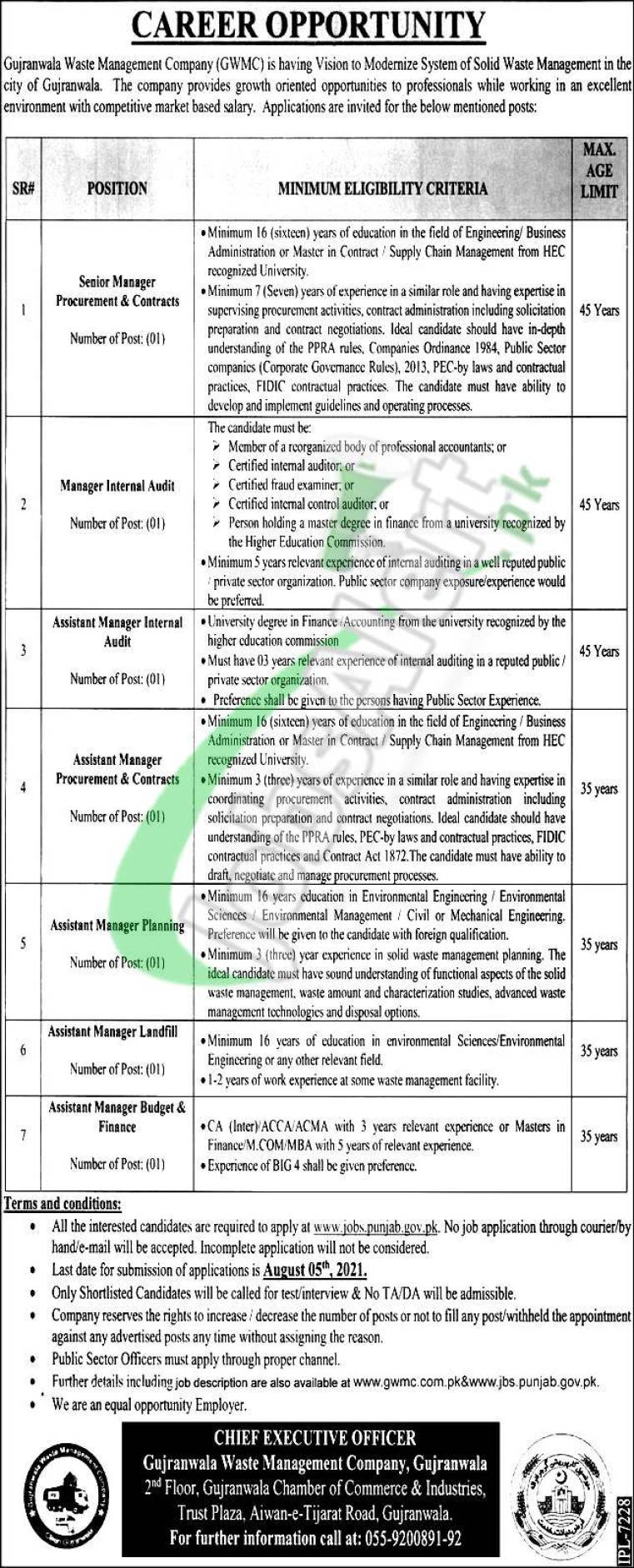 Gujranwala Waste Management Company Jobs 2021 for Assistant Manager Landfill