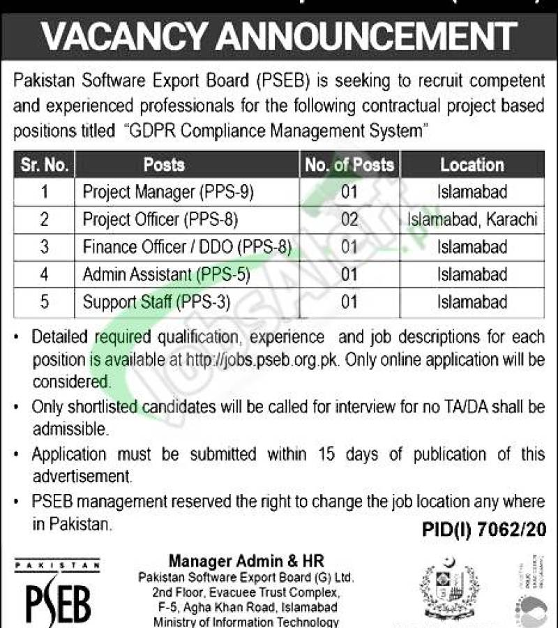 Pakistan Software Export Board PSEB Jobs 2021 Islamabad for Admin Assistant