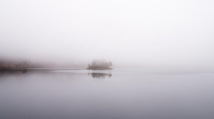 fog sitting over a lake