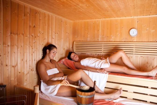 Sauna im Berghotel Jochgrimm in Südtirol