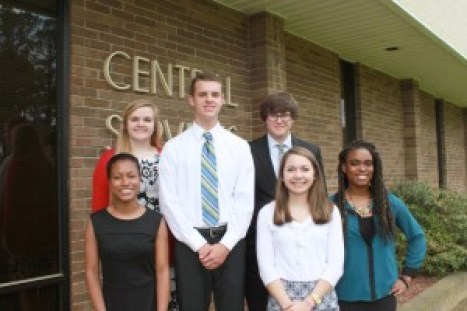 Students to attend N.C. Governor's School this summer. Pictured, left, front row, Maya Palmer, Noah Kiser, Robin Braswell, and Isha Henry. Back row, Melaine Hardee and Mitchell Burleson.