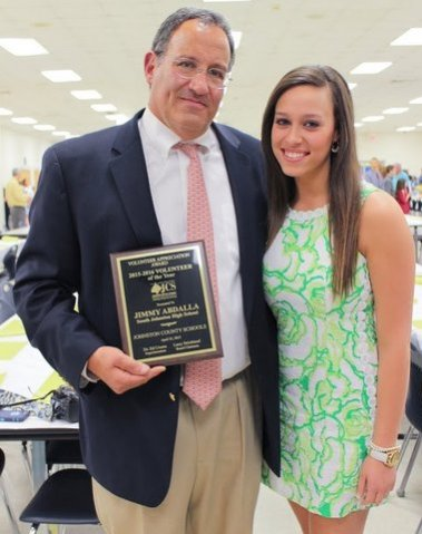 PHOTO: 2015 Johnston County Schools Adult Volunteer of the Year Jimmy Abdalla stands with daughter Miss South Johnston 2014 Morgan Abdalla.